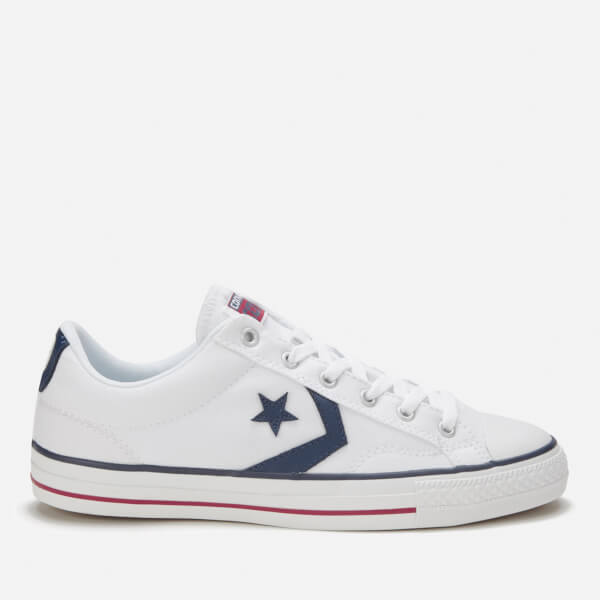 Converse Men's Cons Star Player Canvas Trainers - White/White/Navy: Image 1