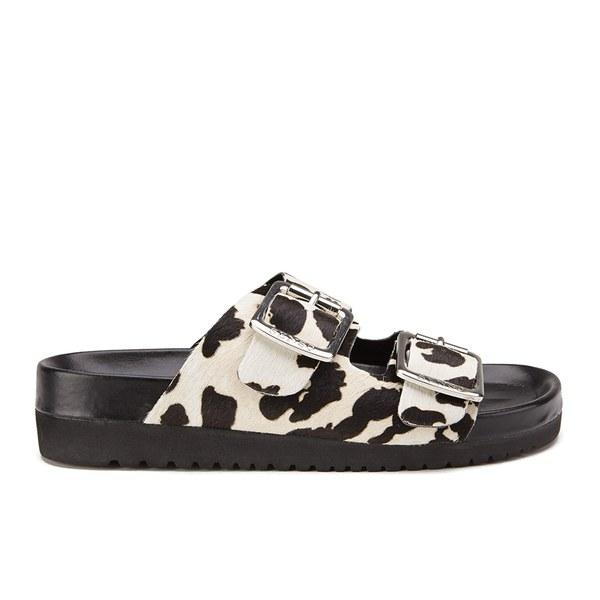 Senso Women's Ida VI Double Strap Leopard Pony Sandals - Chalk: Image 1