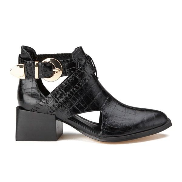 Senso Women's Malika Croc Leather Heeled Ankle Boots - Ebony: Image 1