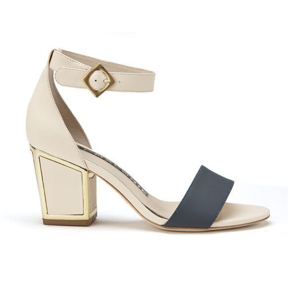 Kat Maconie Jenny Leather Block Heel Contrast Sandals - Grey/Nude