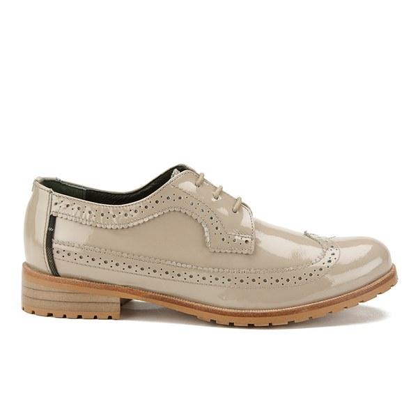 Womens Cream Brogue Shoes