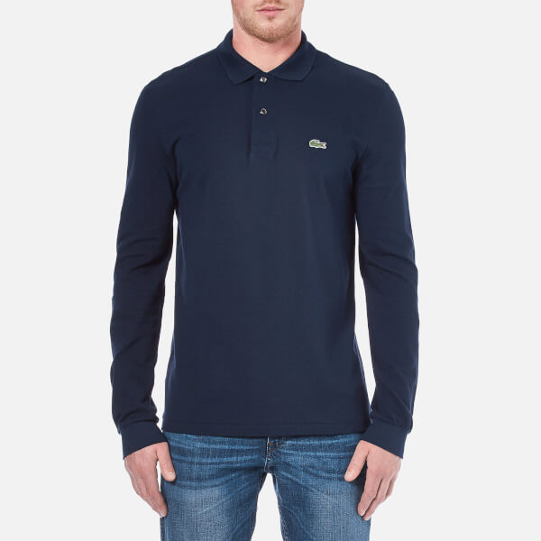 Lacoste Men's Basic Pique Long Sleeve Polo Shirt - Navy