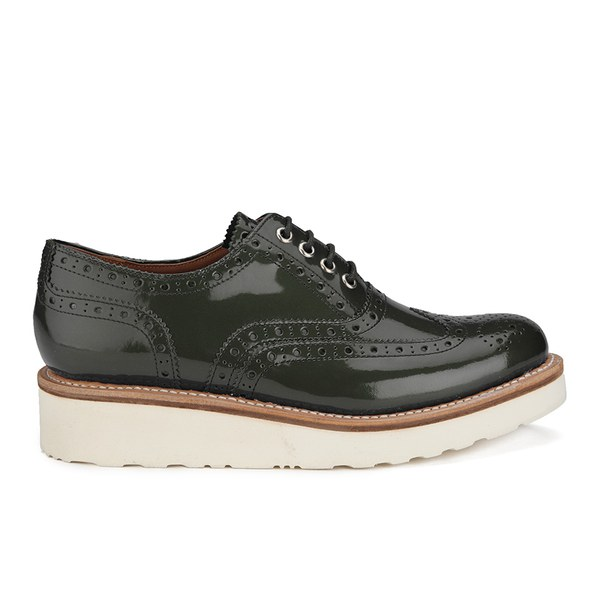 b560458696f0 Grenson Women s Emily V Patent Leather Platform Brogues - Steel  Image 1