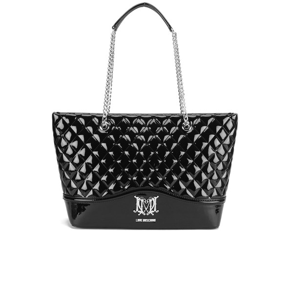 Love Moschino Women's Quilted Patent Shopper Bag - Black