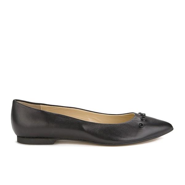 Moschino Woman Appliquéd Leather Ballet Flats Bubblegum Size 36