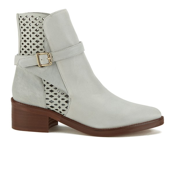 Miista Women's Justine Perforated Leather Ankle Boots - Off White: Image 1
