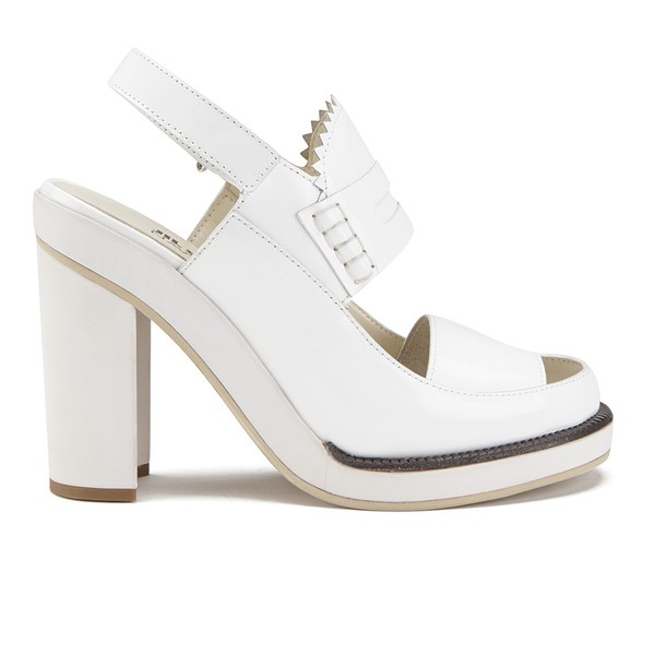 Jil Sander Navy Women's Leather Heeled Sandals - White