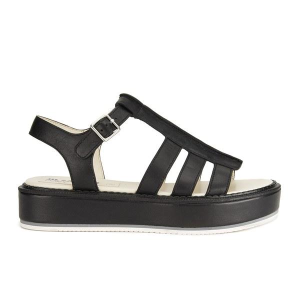 51c15c4019153 Jil Sander Navy Women s Leather Flatform Sandals - Black  Image 1