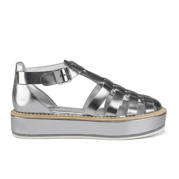 1f1a7d061f05 Jil Sander Navy Women s Leather Strappy Flatform Sandals - Dark Grey  Image  1