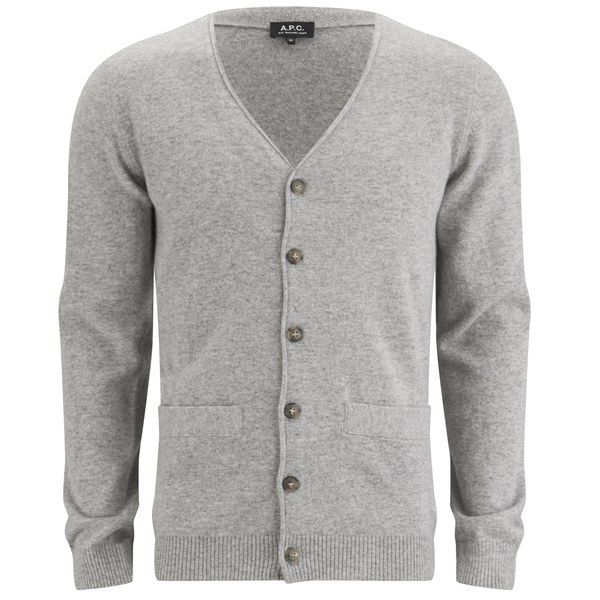 A.P.C. Men's John Cashmere/Merino Mix Cardigan - Grey - Free UK ...