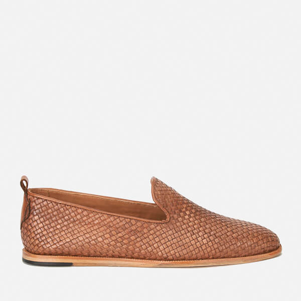 Hudson London Men's Ipanema Weave Slip on Leather Shoes - Tan