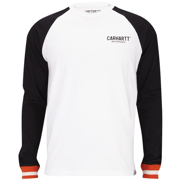 Carhartt men 39 s riley long sleeve t shirt white black for Carhartt long sleeve t shirts white