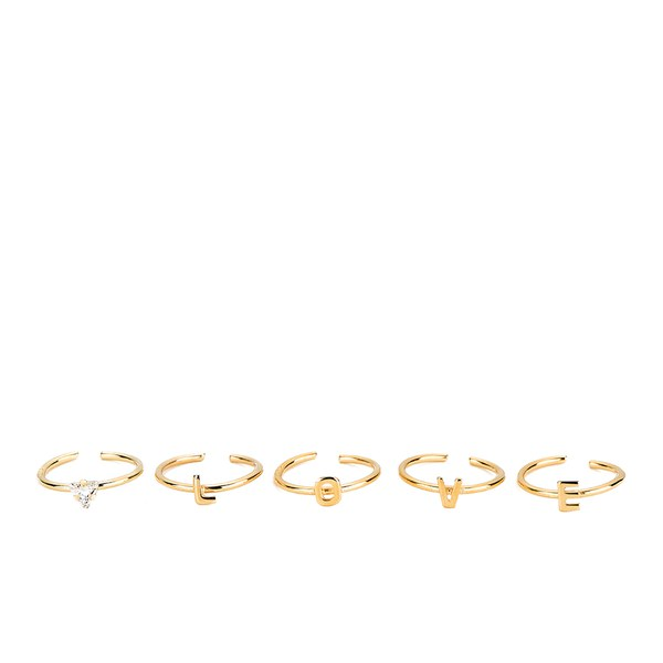 Maria Francesca Pepe Women's Love and Crystal Midi Rings Set of 5 - Gold