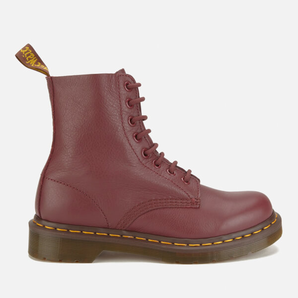 Dr. Martens Women's Pascal Virginia Leather 8-Eye Lace Up Boots - Cherry Red