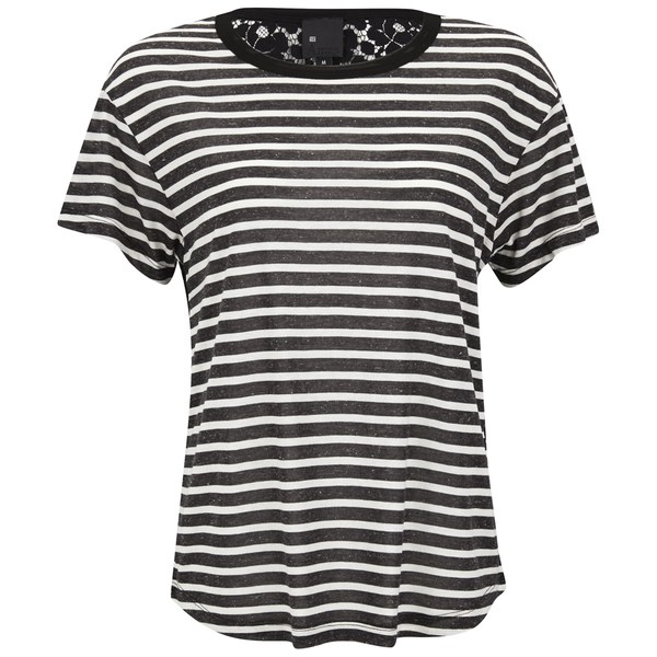 Six Ames Women's Raw Stripe Lace Back T-Shirt - Black