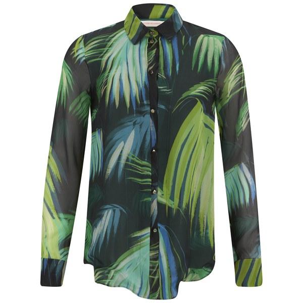 Matthew Williamson Women's Pleat Front Shirt - Peacock Palm Chiffon