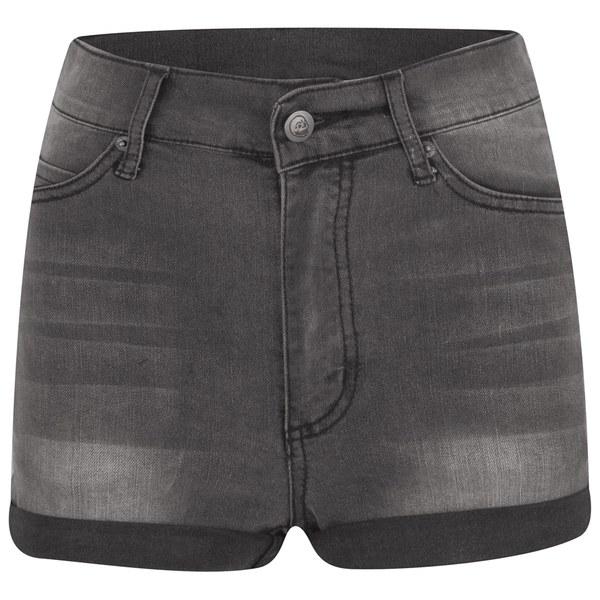 Cheap Monday Women's 'Short Skin' High-Waist Denim Shorts - Grey