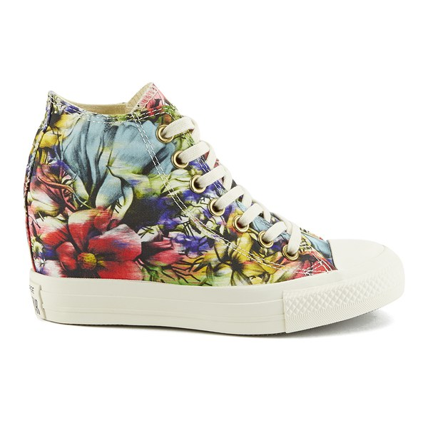 2c91a7ab9a5109 Converse Women s Chuck Taylor All Star Lux Floral Print Wedge Hi-Top Canvas  Trainers -