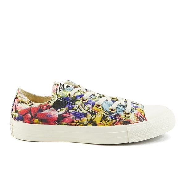 a4d15c82a995 Converse Women s Chuck Taylor All Star Floral Print OX Canvas Trainers -  Egret Multi  Image