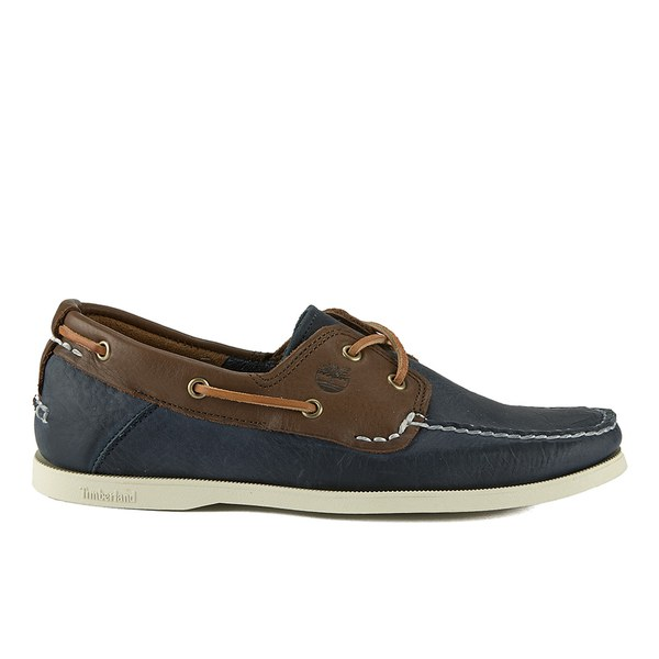 03421b84f6a5 Timberland Men s Earthkeepers Heritage 2-Eye Boat Shoes - Dark Brown Navy   Image