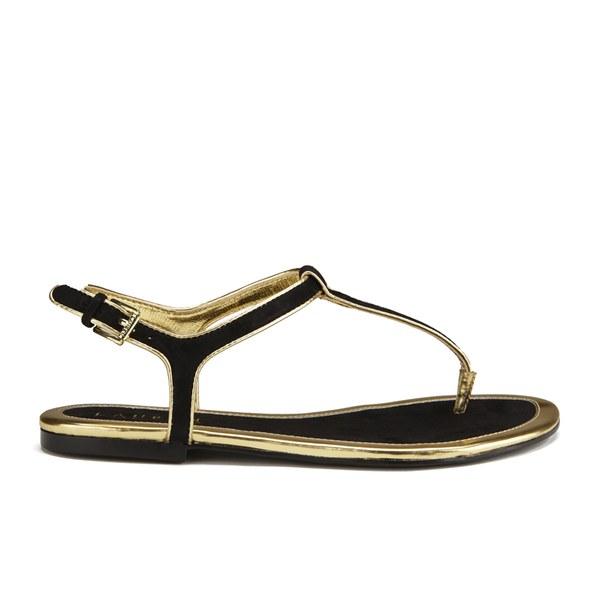 Lauren Ralph Lauren Women's Abegayle Metallic Trim Sandals - Black/Gold