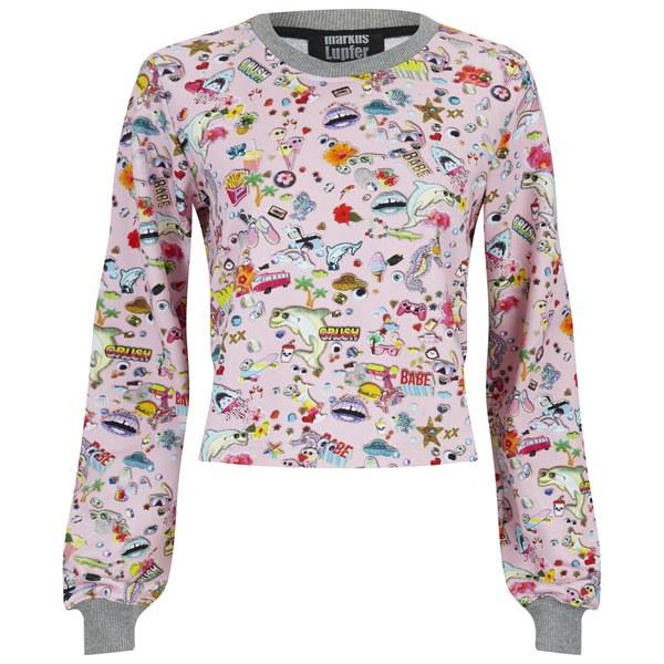 Markus Lupfer Women's Sticker Print Donna Sweatshirt - Pink