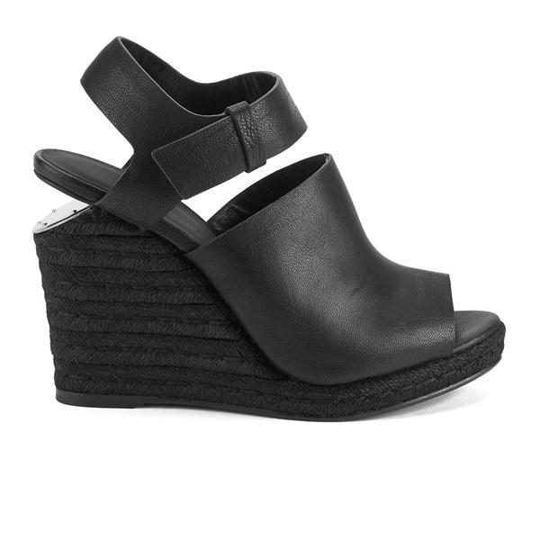 Alexander Wang Women's Tori Leather/Cork Wedged Sandals - Black