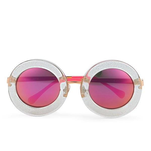 Markus Lupfer Women's Glitter Neon Pink Round Sunglasses - Blue