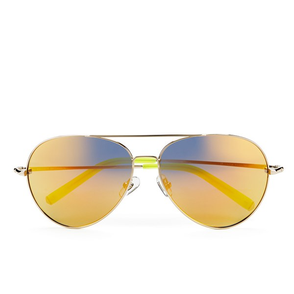 Matthew Williamson Women's Gold Mirror Lens Aviator Sunglasses - Neon Yellow