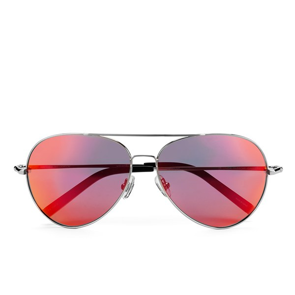 Matthew Williamson Women's Sun Red Lens Aviator Sunglasses - Black Acetate