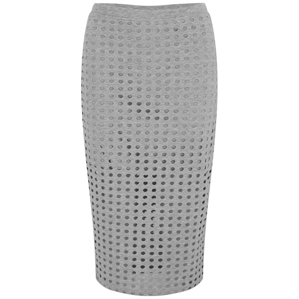 T by Alexander Wang Women's Circular Hole Jacquard Jersey Skirt - Heather Grey
