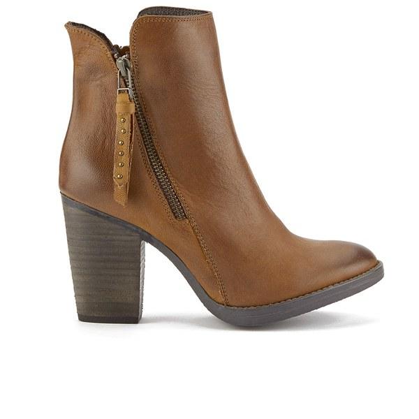 Steve Madden Women&39s Ryatt Zip Leather Heeled Ankle Boots - Tan