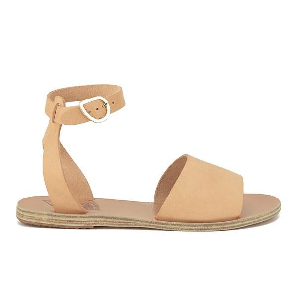 Ancient Greek Sandals Women's Thalpori Two Part Leather Flat Sandals - Natural
