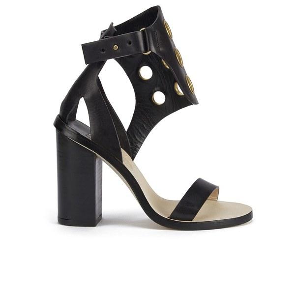 By Malene Birger Women's Subki Brass Eyelet Leather Sandals - Black