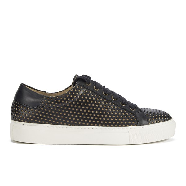 By Malene Birger Women's Rawani Perforated Leather Trainers - Black/Taupe