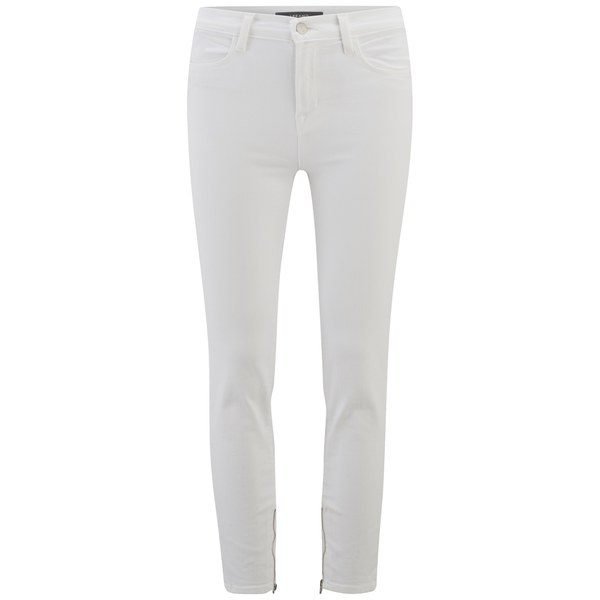 J Brand Women's Hanna White Crop High Rise Skinny Jeans with Zips - Blanc White