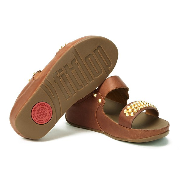 71eb5389e15bed FitFlop Women s Amsterdam Studded Leather Slide Sandals - Dark Tan  Image 6