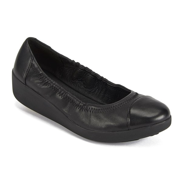 a45a8dfa26ea65 FF2 by FitFlop Women s F-Pop Leather Ballerina Flats - All Black  Image 5