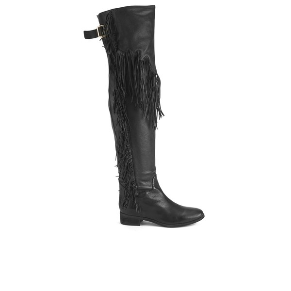 See By Chloé Women's Suede Tassle Over the Knee Boots - Black