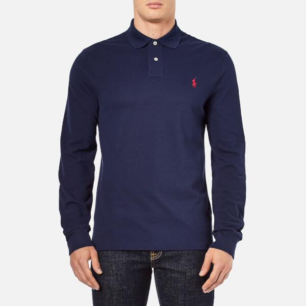 Polo Ralph Lauren Men's Slim Fit Long Sleeved Polo Shirt - Newport Navy:  Image 1