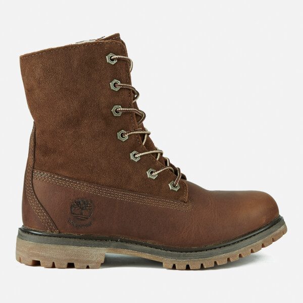 Timberland Women's Authentics Teddy Fleece Waterproof Fold-Over Boots - Tobacco  Forty: Image 1