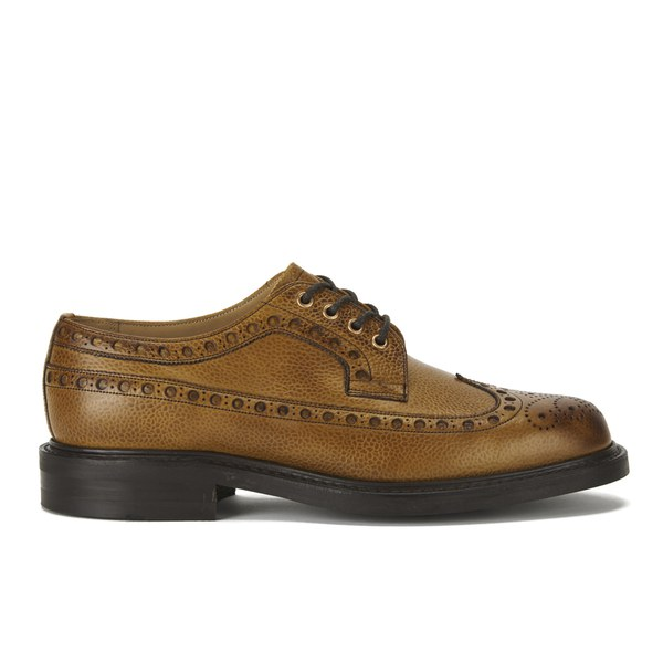 Private White VC X Cheaney Shoes Mens Bolton Leather Brogues - Almond
