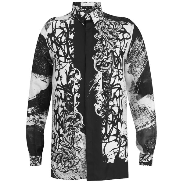 Versace Men's Patterned Long Sleeve Shirt - Black/White - Free UK ...