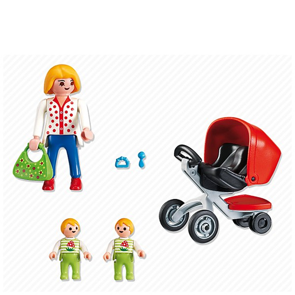 Playmobil Pre School Mother With Twin Stroller 5573 Toys