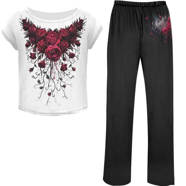 Spiral Women's BLOOD ROSE 4 Piece Gothic Pyjama Set
