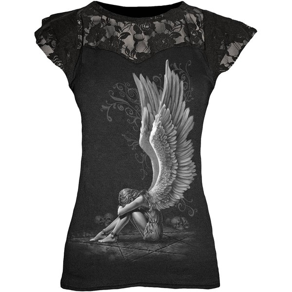 Spiral Women's ENSLAVED ANGEL Lace Layered Cap Sleeve Top - Black