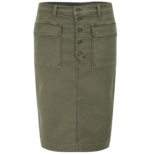 J Brand Women's Ani Button Front Skirt - Olive Drab