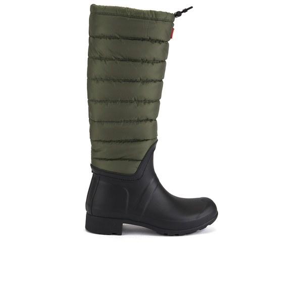 Hunter Women's Original Quilted Leg Wellies - Swamp Green/Black: Image 1