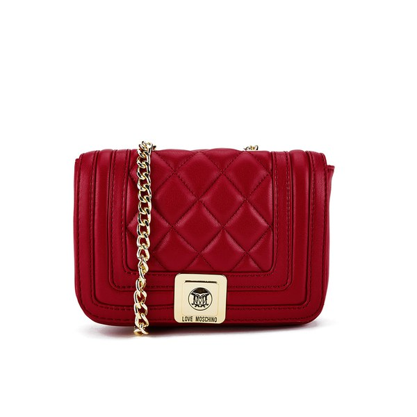 Love Moschino Women's Quilted Patent Small Cross Body Bag - Red