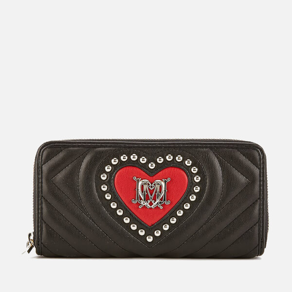 Love Moschino Women's Quilted Heart and Stud Purse - Black